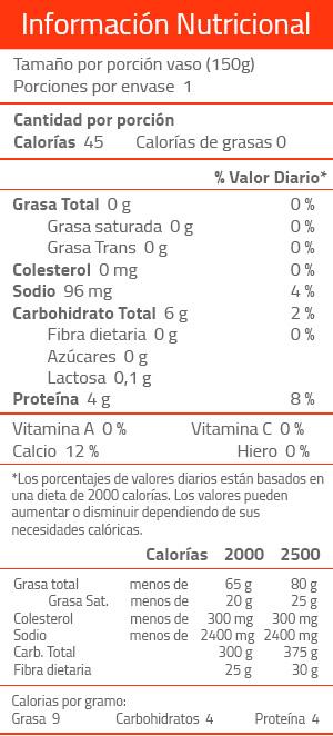 informacion nutricional yogurt sin azucar
